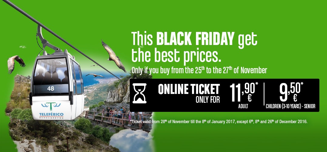This Black Friday gets the best prices in the online tickets to Benalmádena Cable Car