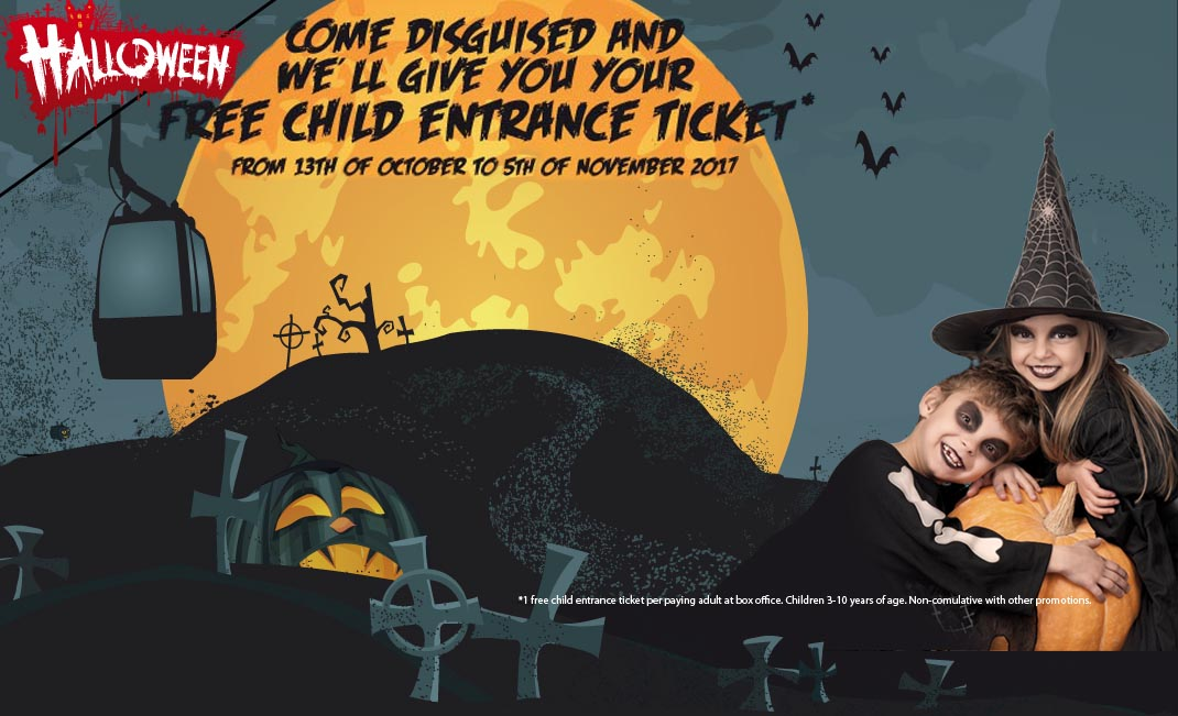 This Halloween come disguised to Benalmádena Cable Car and we'll give you your free child entrance ticket